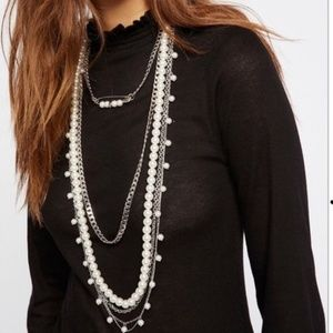 Free People Cydney Pearls Layered Necklace New